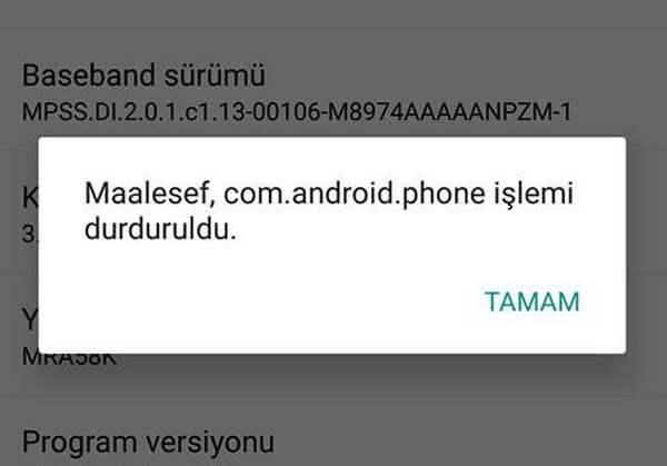Android'de hata mesajları ve çözüm